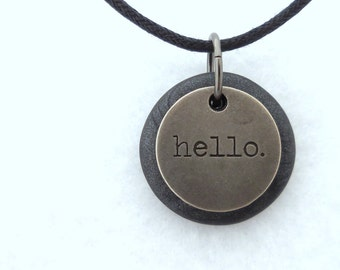 Hello Necklace, Word Pendant, Polymer Clay Unique Jewelry