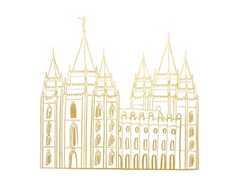 Gold Foil Salt Lake City LDS Temple (8x10 or 5x7), LDS Temple, Salt Lake Temple, LDS Baptism Gift, Lds art, Lds gifts