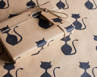 Handprinted Cat Kraft Wrapping Paper Including 1 x Gift wrap, 2 x Gift Tags & Twine.