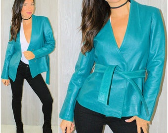 Leather Jacket Teal Blue Cropped Coat V-Neck Fall Winter Size 6 Vintage 90's Boho Hipster Tailored Fitted Wrap Style Modern Moto Jacket