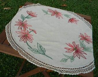 """Linen table topper """"Poinsettias on linen"""""""