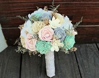 Wedding Bouquet - Vintage Collection, Large Ivory Lace Keepsake Alternative Bouquet, Sola Bouquet, Rustic Wedding