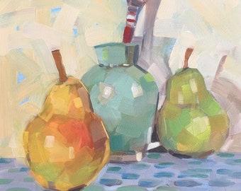 Pears Aqua Vase Original Oil Painting by Bridget Hobson, 6x6 inch, free domestic shipping