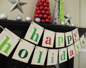 holiday decorations- Happy Holidays banner- Christmas sign- holiday garland- Chirtmas card photoprop