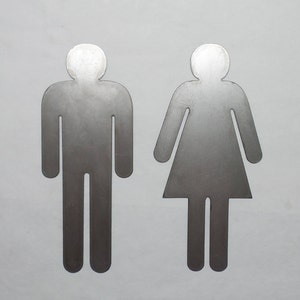 mens and womens bathroom signs. Man - Woman Metal Sign Bathroom Restroom Door Male Female Gender His Mens And Womens Signs T