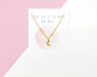 Tiny Moon Necklace | Friendship Jewelry | Dainty Crescent Moon Necklace Gift for Her Best Friend Gift Minimalist Necklace Bff Necklace Gift