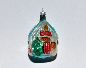 Antique German Mercury Glass Cottage House Christmas Ornament, circa 1920s