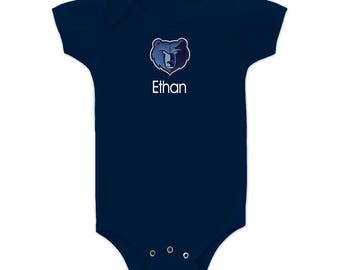 Personalized Memphis Grizzlies Baby Bodysuit Navy