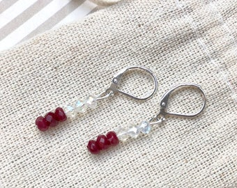 Natural Red Ruby Gemstone Earrings