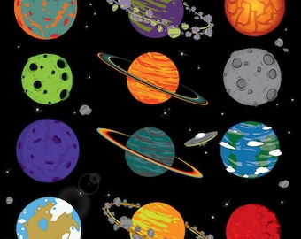 Planets and Space instant download digital clip art - Digital Files - space clipart - Planet png - Space png - Space clip art - png