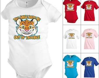 Smile Keeps me out Trouble tiger Funny Kids T-shirt Youth tee Baby Toddler bodysuit K24