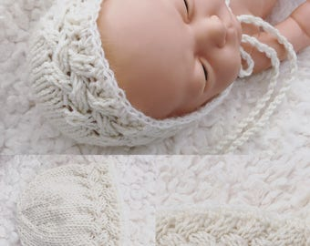 Newborn size knit bonnet with mohair trim,photo prop,gift idea,coming home,ready to ship