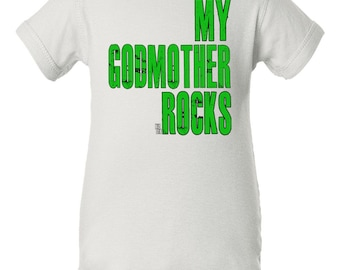 My godmother rocks bodysuit, Godmother baby gift, cute gift from baby's godmother