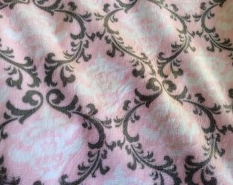 Double Minky Blanket - Pink Gray Damask Minky - blush pink Minky Dot  - Double Minky - Baby Size 29x35