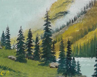 Original ACEO oil painting MOUNTAIN LANDSCAPE 2.5 x 3.5""