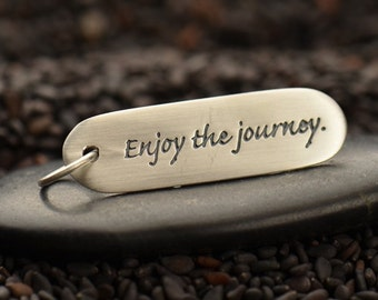 925 Sterling Silver Enjoy the Journey Poetry Tag Pendant Word Charm Necklace Silver Jewellery UK Graduation Travel Gift 2607