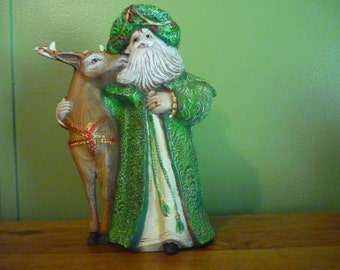 Hand Painted Victorian Santa and Deer