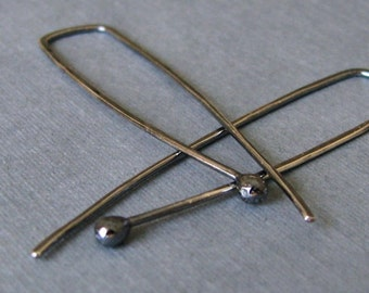 Super Long Earrings, Oxidized Rectangle Hoops, Geometric Sterling Silver Ball Drops Antiqued, 20 gauge