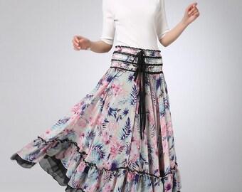 Bohemian skirt, floral skirt, chiffon skirt, maxi skirt, high waisted skirt, full length skirt, summer skirt, circle skirt (1235)
