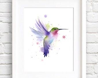 Hummingbird Art Print - Watercolor Painting -  - Signed by Artist DJ Rogers - Wall Decor