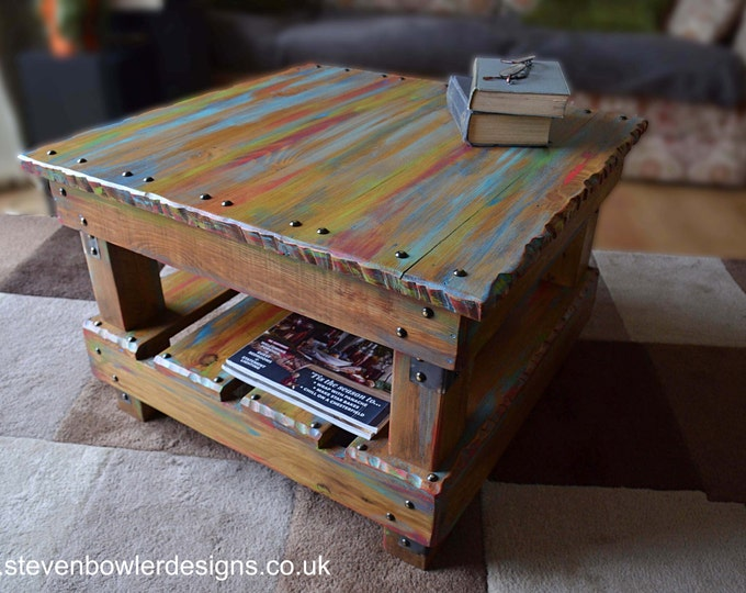 Rustic Reclaimed Wood Coffee Table in Multi Coloured Old Boatwood Style Finish & Undershelf Storage 60 cm x 60 cm x 40 cm Made to Order