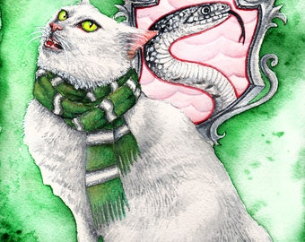 Slytherin Harry Potter Inspired Kitten: Fine Art Watercolour Cat Print