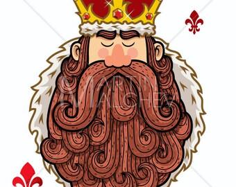 King Portrait - Vector Cartoon Clipart Illustration. ruler, emperor, lord, tsar, royal, crown, beard, mascot, man, royalty,
