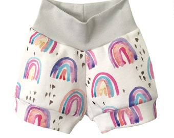 NEW! Rainbow baby shorts, Watercolour Rainbow print, organic baby shorts, girls, bloomers, toddler shorts, baby clothes, organic shorts