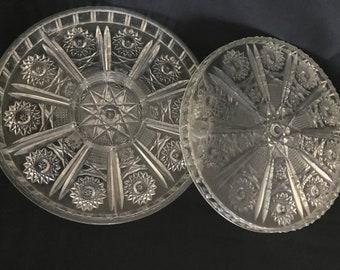 Lucite starburst serving platters
