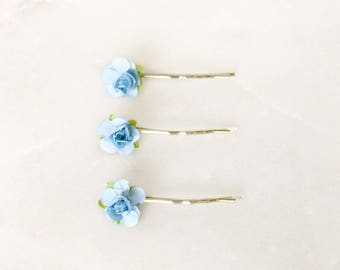 Light Blue Flower Bobby Pin Set // 3 Pcs, Blue Hair Pins, Pastel Wedding Hair Accessories, Bridesmaid Gifts, Gifts For Her, Christmas 2017