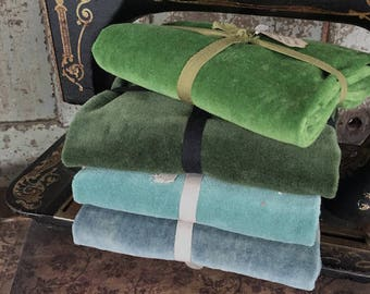 Fabric: Hand-dyed Velvet Fat Quarters - Green Apple/Emerald/Aquamarine/Aruba