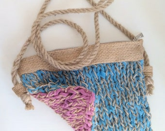 handbag made of old t-shirts and jute