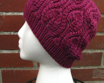 Leaf Pattern Cabled Wool Beanie (100% Wool)