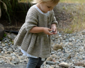 CROCHET PATTERN-The Rufflyn Cardigan (3/4, 5/6, 7/8, 9/10, 11/12 years)