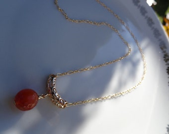 Yellow Gold filled necklace with genuine carnelian!