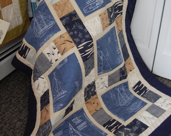 Ships Blueprint Quilt, Hand Quilted Nautical Blanket, Hearty Good Wishes Throw Size Quilt, Mens Gift