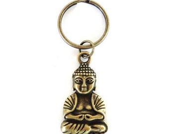 Buddha Keychain, Yoga, Buddhism, Meditation, Spiritual, Unique, Gift For Her or Him, Under 10 Item W52