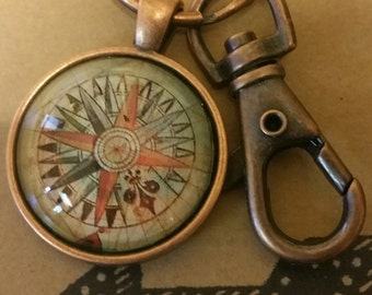 Compass Pendant Keychain