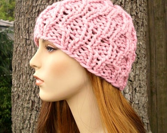 Knit Hat Pink Womens Hat - Amsterdam Cable Beanie in Blossom Pink Knit Hat - Pink Hat Pink Beanie Womens Accessories Winter Hat