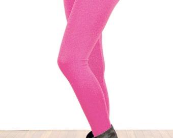 Hot Neon Pink Stretch Cotton Leggings