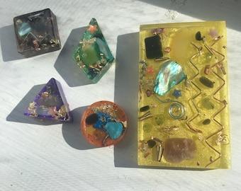 CUSTOM Orgonia Cell Phone Back - Healing Crystals - Peridot, Tourmaline, Amethyst, Agate, Opal
