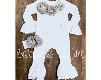 Newborn Girl Coming Home Outfit, Newborn Take Home Outfit, Newborn Ruffle Romper, Newborn Photo Outfit, Gray Baby Outfit, Baby Girl Clothes