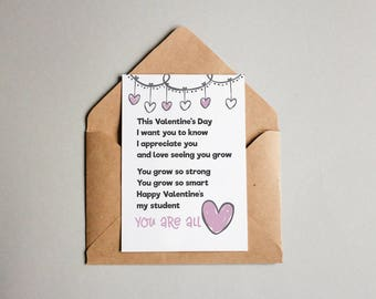 Printable Valentines Card for Student-From Teacher-Download-Print-Letter Size