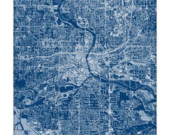 Des Moines Cityscape Art Print / Iowa Aerial City Map Wall Art / 8x10 / Choose your Color