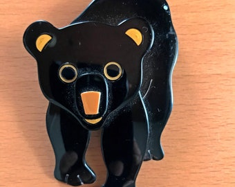Lea Stein Black Bear Brooch - Signed Lea Stein Paris