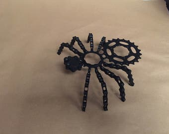 upcycled metal spider sculpture art