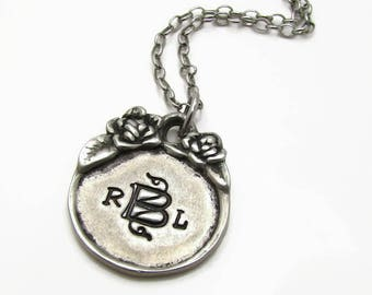 Personalized Monogram Necklace, Personalized Necklace, Hand Stamped Jewelry, Personalized Necklace, Initial Necklace, Gift for her under 50