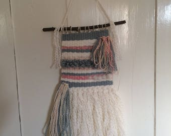 Woven Wall Hanging handmade pink and blue home decor