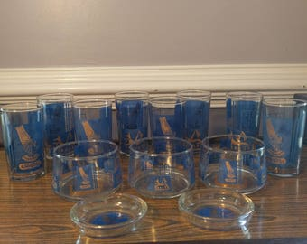 Mid Century Vintage Egyptian Themed Barware Royal Blue and 22K Gold