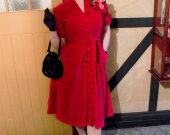 Vintage Coat Dress 1950's 50's cotton velvet / Lucille / Authentic vintage reproduction / Red 50s dress / XS S M L Xl / Made to order